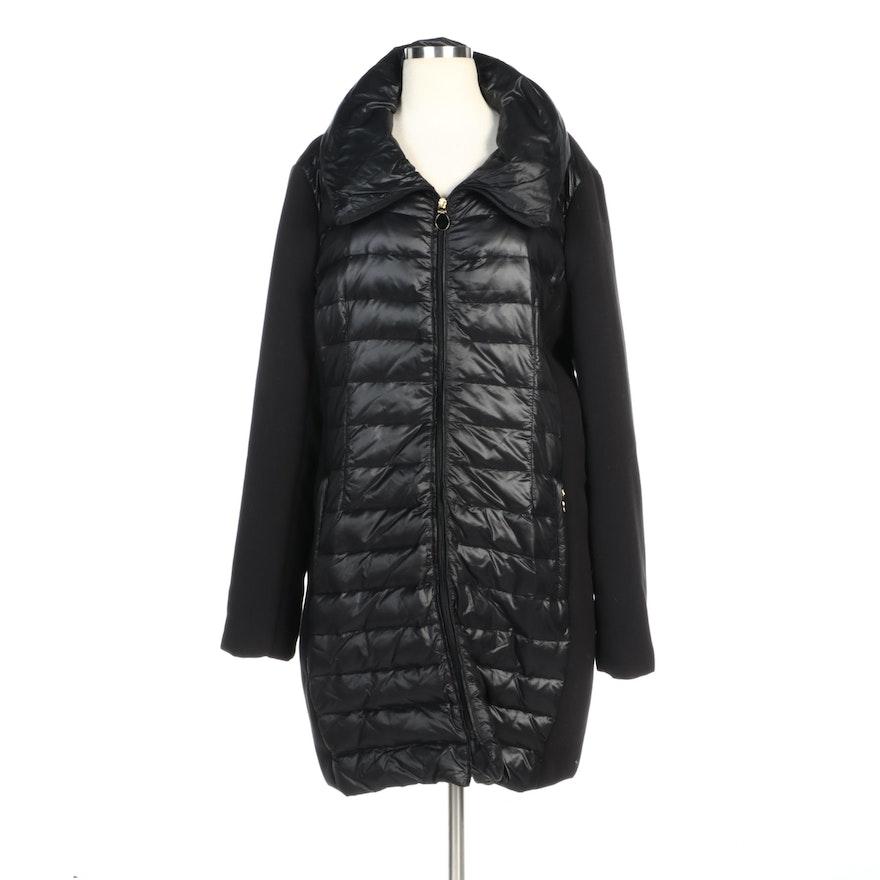 T Tahari Black Nylon Quilted Down Zipper-Front Coat