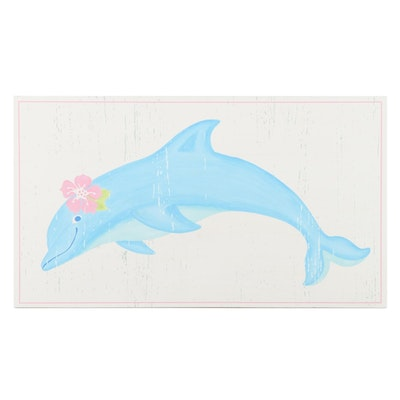 "Pottery Barn Kids ""Under The Sea"" Dolphin Painted Plaque"