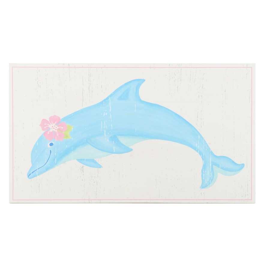 """Pottery Barn Kids """"Under The Sea"""" Dolphin Painted Plaque"""