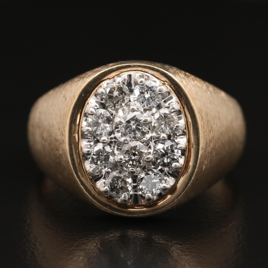 10K Diamond Cluster Ring with Brushed Finish