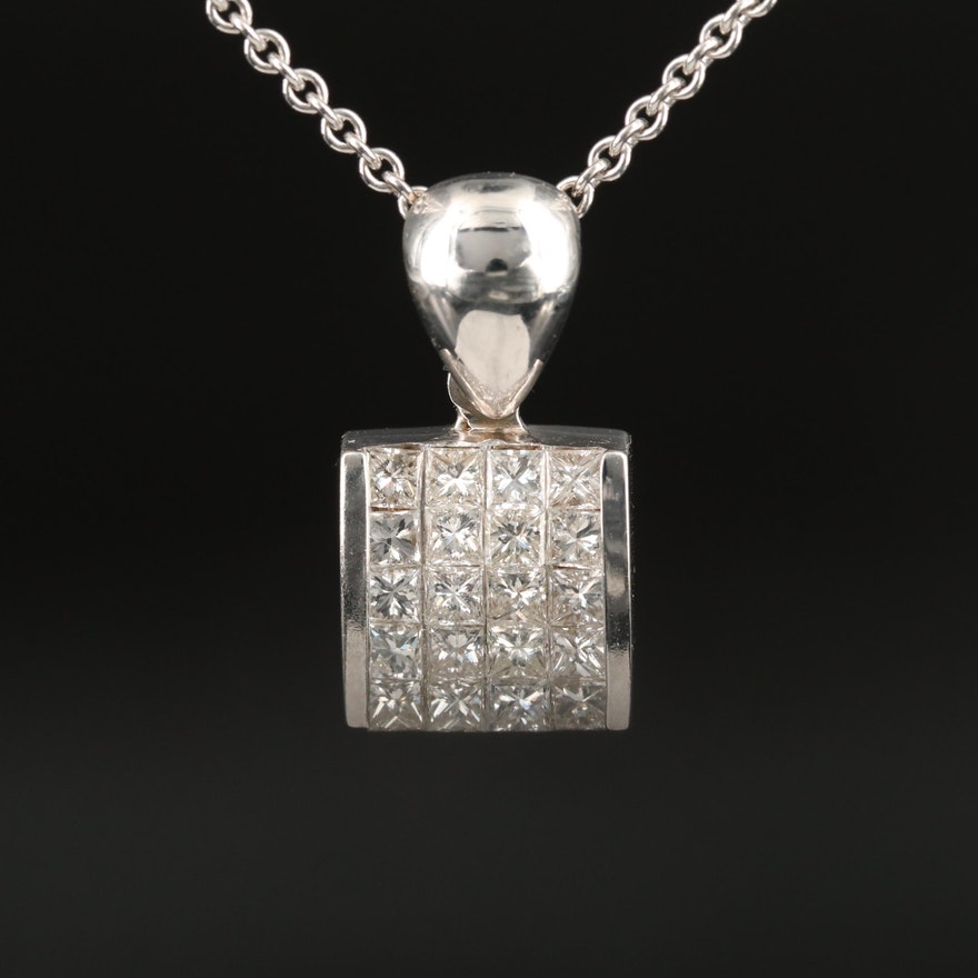 18K 1.00 CTW Diamond Pendant Necklace