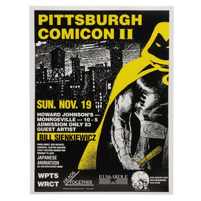 1989 Pittsburgh Comicon II Poster Featuring Guest Artist Bill Sienkiewicz