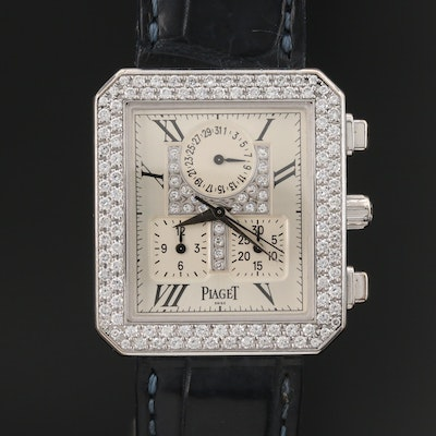 "Piaget ""Protocole"" Chronograph 18K White Gold 1.50 CTW Diamond Wristwatch"