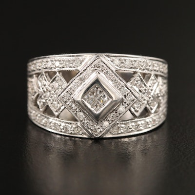 18K Diamond Geometric Ring