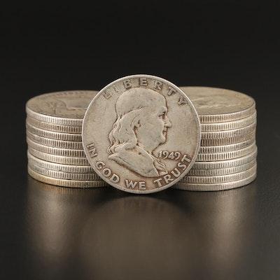 Twenty 1949-S Franklin Silver Half Dollars