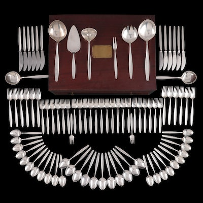 "Georg Jensen ""Cypress"" Sterling Silver Flatware and Utensils, 1954–1994"