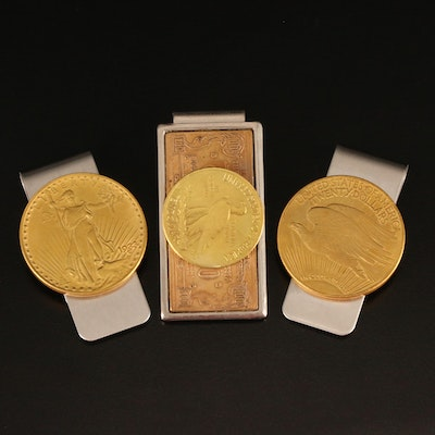 Three Replica Gold Coin Money Clips