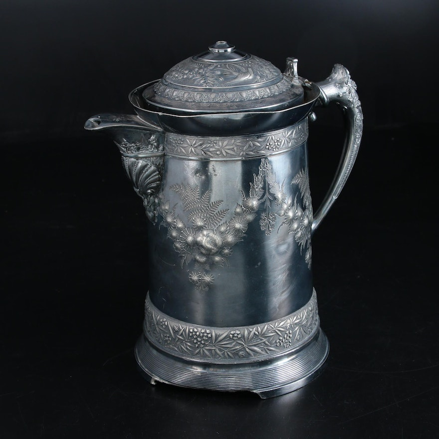 Meriden Brittannia Co. Aesthetic Movement Silver Plate Ice Water Pitcher