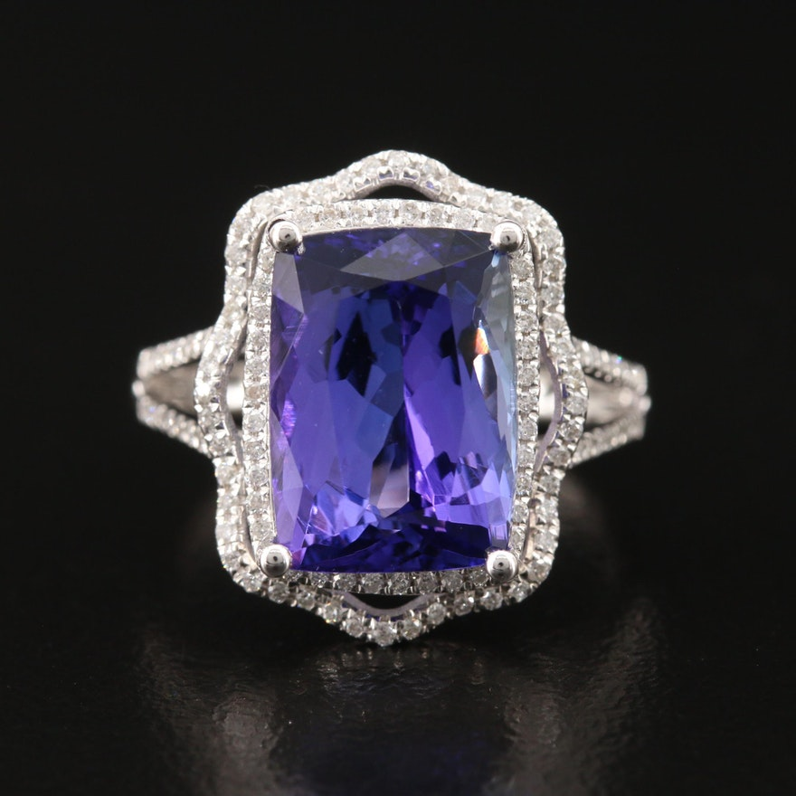 18K 6.81 CT Tanzanite and Diamond Halo Ring with GIA Report