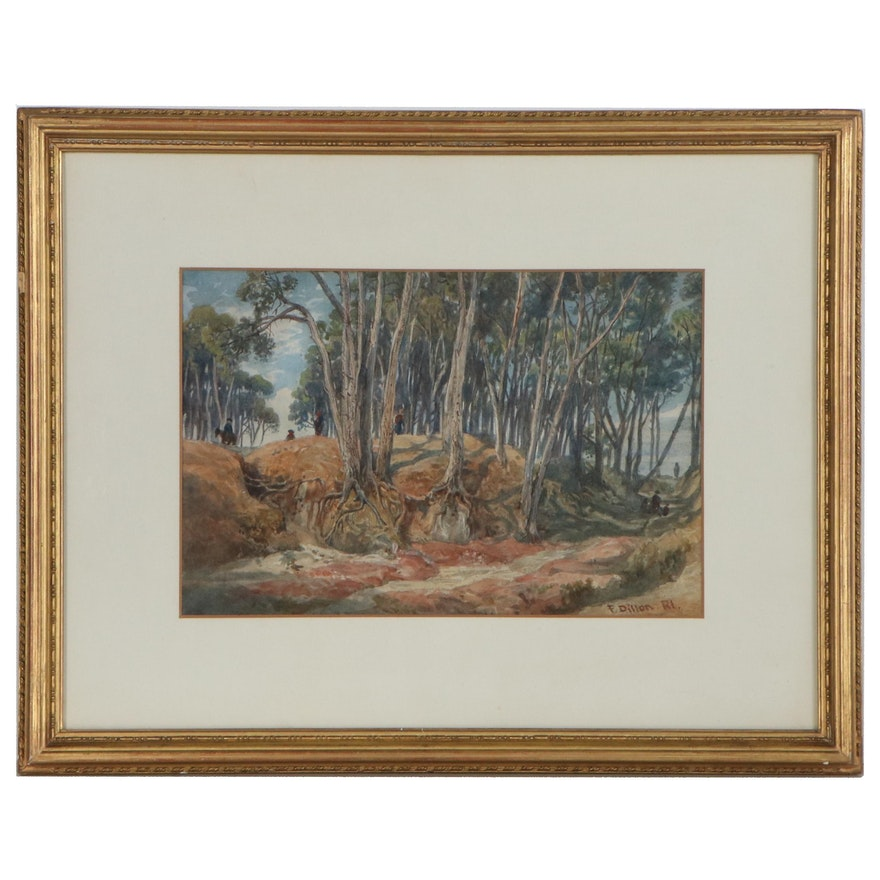 Frank Dillon Watercolor Painting of Forest, Late 19th Century