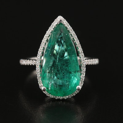 14K 4.92 CT Emerald and Diamond Teardrop Ring