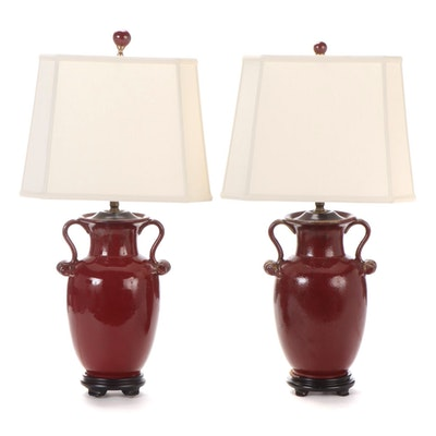Oxblood Red Ceramic Amphora Shaped Table Lamps on Wood Bases, Late 20th Century