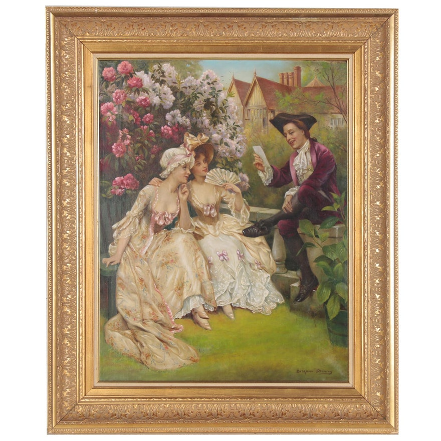 Oil Painting of Victorian Garden Scene, Late 19th Century
