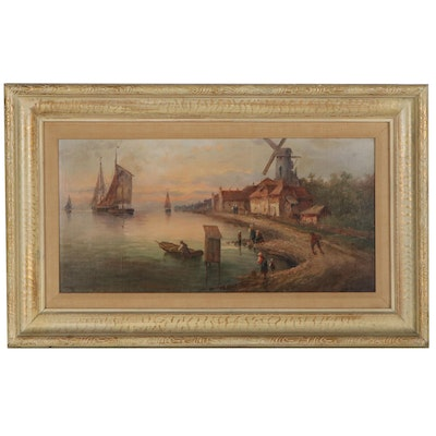 Romantic Style Seascape Oil Painting of Coastal Scene, Late 19th Century