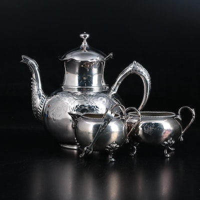 Hartford Silver Plate Teapot, Webster Sterling Sugar Tongs and More