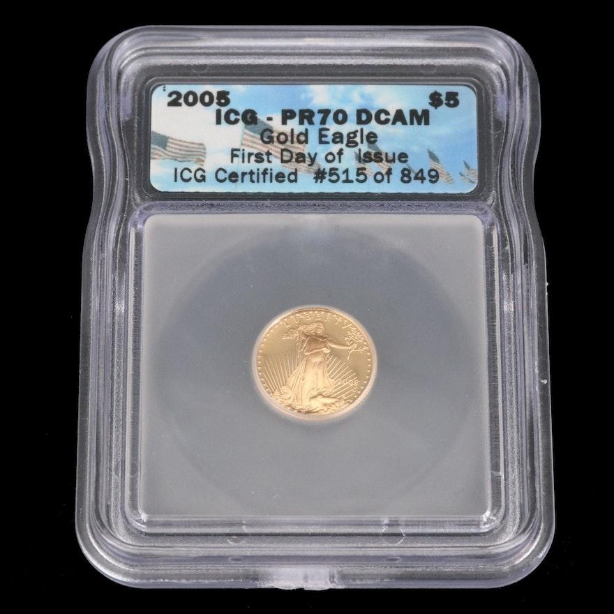 2005-W ICG PR70 $5 1/10oz Gold Eagle Bullion Coin