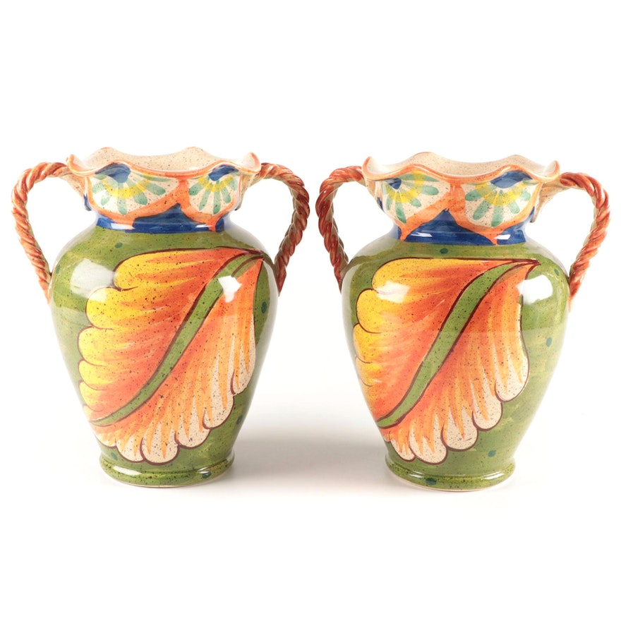 Pair of Italian Foliate Motif Glazed Ceramic Amphora Vases