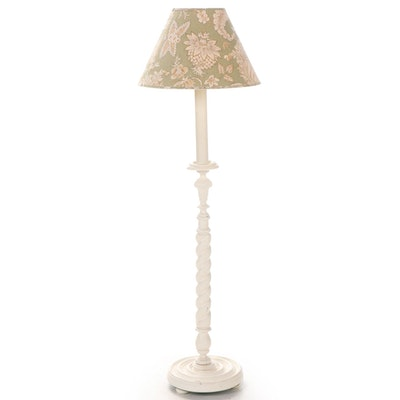 Norman Perry Painted Barley Twist Wooden Floor Lamp, Mid-20th Century