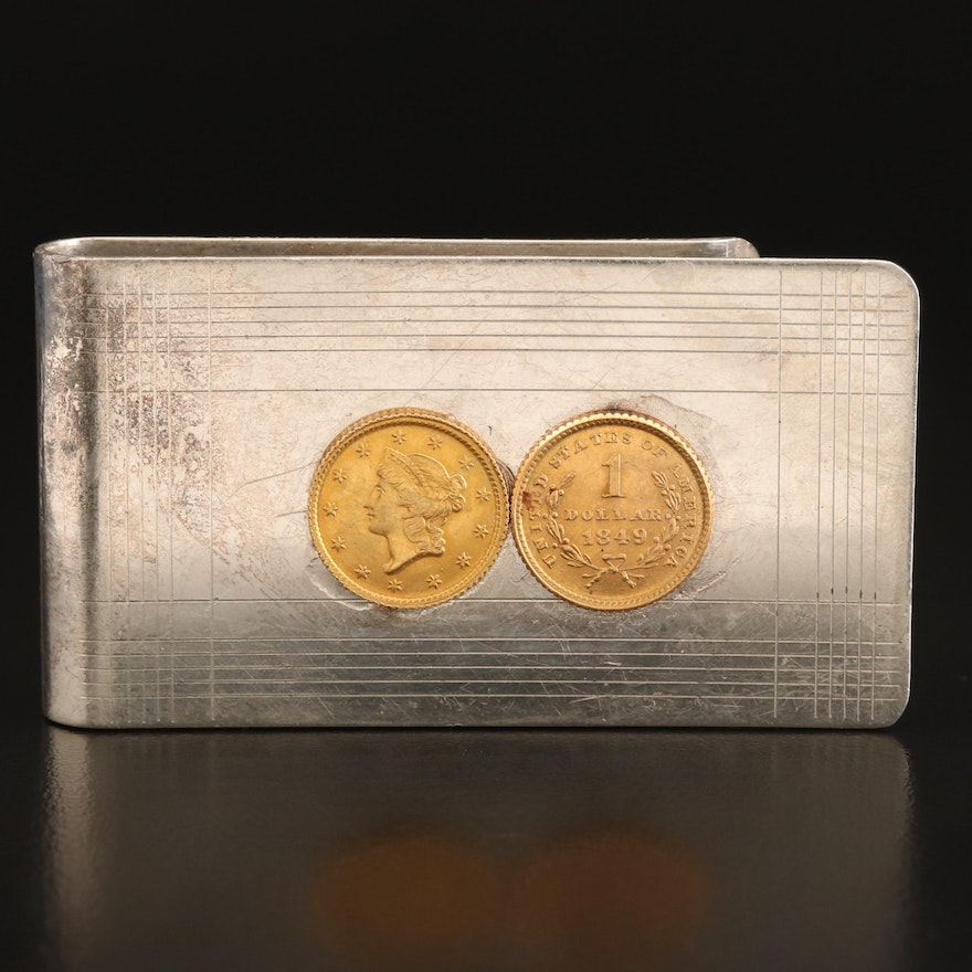 Tiffany & Co. Sterling Liberty Head Type 1 Gold Dollars Coins Money Clip