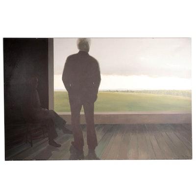Anna Marie Schnur Pennsylvania Landscape Oil Painting, 1984