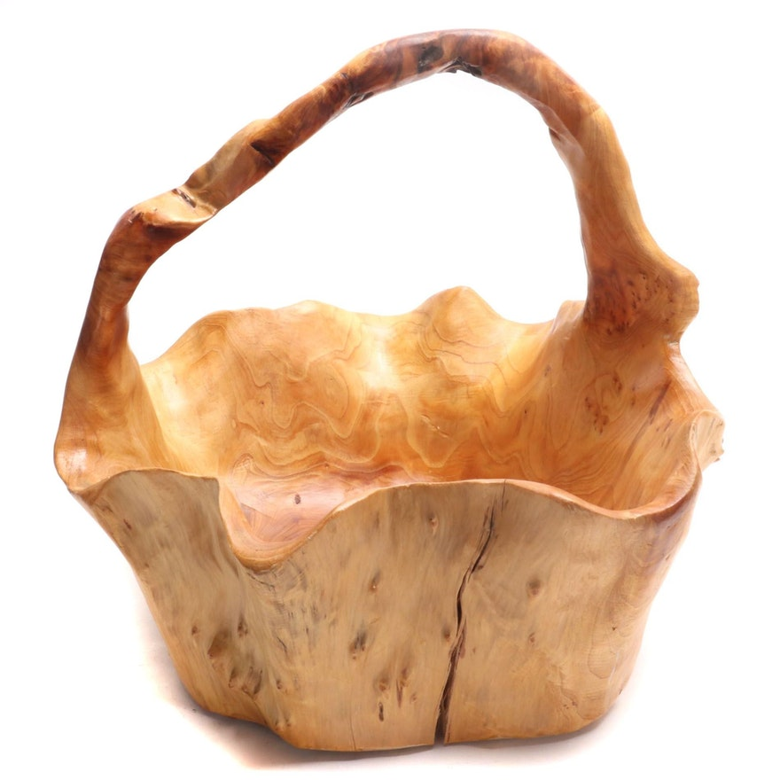 Hand Carved Root Wood Basket, Contemporary