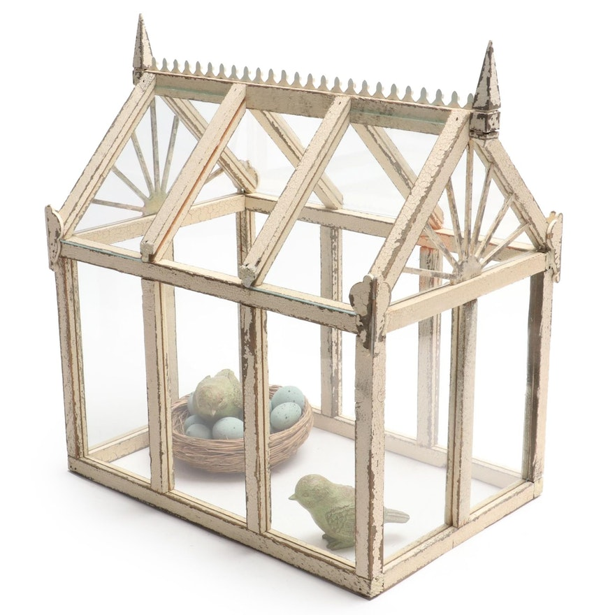 Paint Distressed Wooden Terrarium with Bird Figurines, Nest and Eggs