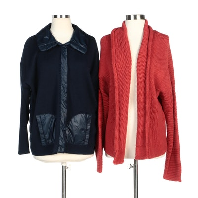 Nine West Woman and Zenergy by Chico's Navy and Red Knit Jackets