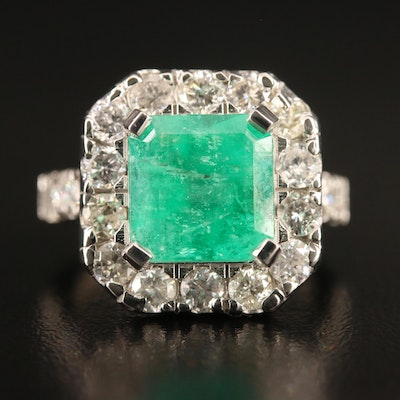 Platinum 4.08 CT Emerald and 2.00 CTW Diamond Ring