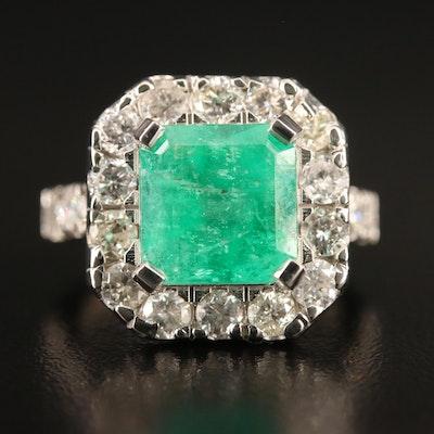 Platinum 4.08 CT Emerald and 2.00 CTW Diamond Ring