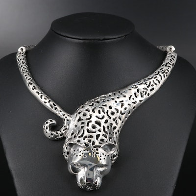 "Emillia Castillo ""Jaguar"" Sterling Silver Diamond Necklace"