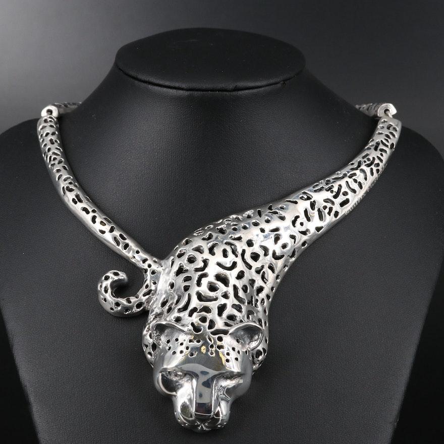 "Emillia Castillo ""Jaguar"" Sterling Silver Diamond Necklace"
