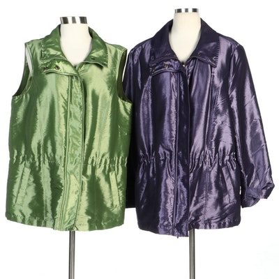 Coldwater Creek Iridescent Green Vest and Purple Jacket