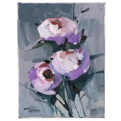 "Jose Trujillo Oil Painting ""Peonies Blooming,"" 2020"