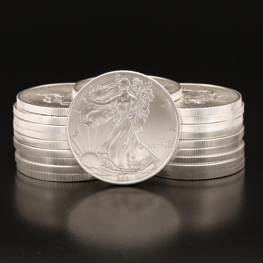 Key Date 2021 Silver Eagle .999 Fine Silver Bullion Coins
