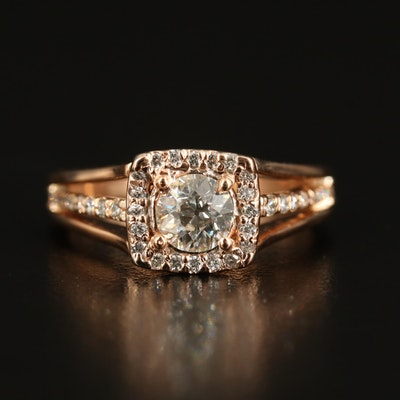 14K Rose Gold Diamond Halo Ring with Split Shank