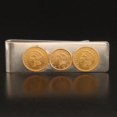 Indian Princess and Liberty Head Gold Coins on Sterling Tiffany & Co. Money Clip