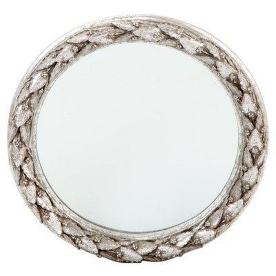 Round Silver Painted Carved Foliage Wall Mirror