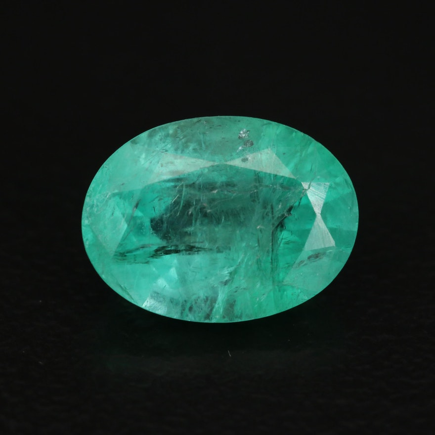 Loose 2.34 CT Oval Faceted Emerald