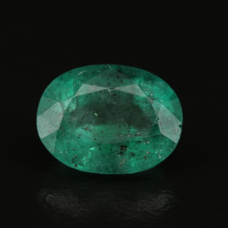 Loose 2.02 CT Oval Faceted Emerald