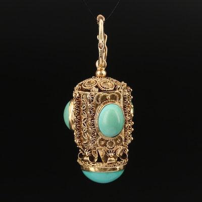 18K Turquoise Enhancer Cannetille Pendant