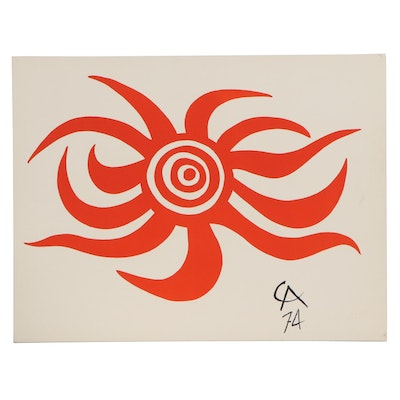 "Alexander Calder Color Lithograph ""Sunburst,"" 1974"