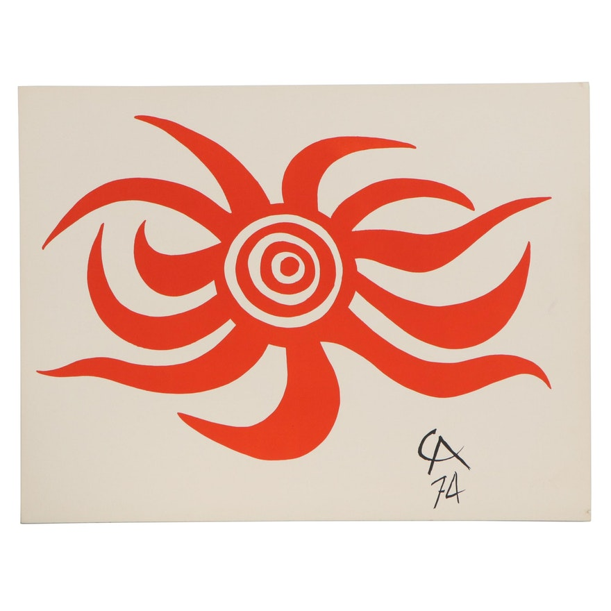 "Alexander Calder Color Lithograph ""Sunburst,"" 1974"