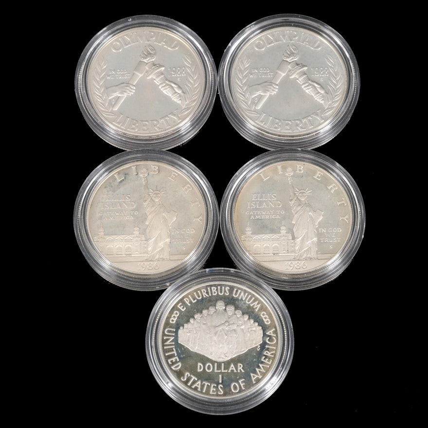 Five Proof Commemorative Silver Dollars