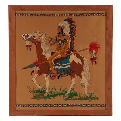 Gouache Painting of Native American Figure Riding Horse, Mid-Late 20th Century