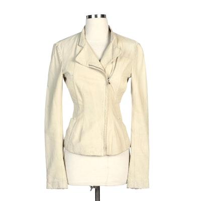 Donna Karan Pale Green Leather Zip Jacket