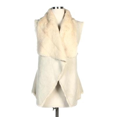 Bebe Ivory Faux Fur Lined Vest