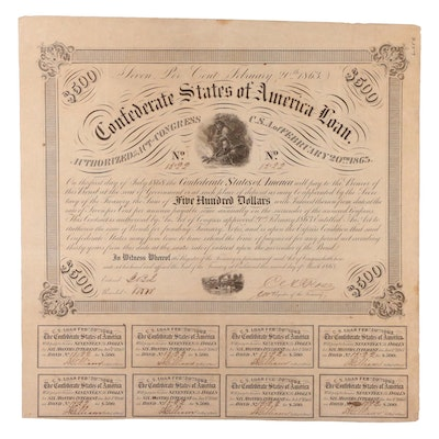 Confederate States of America $500 Loan, 1863