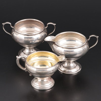 Redlich & Co. Sterling Silver Creamer and Sugar with Crown Sterling Creamer