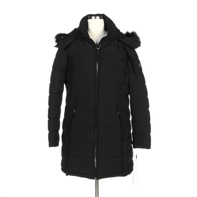 Calvin Klein Black Quilted Zipper-Front Coat with Detachable Faux Fur Trim Hood