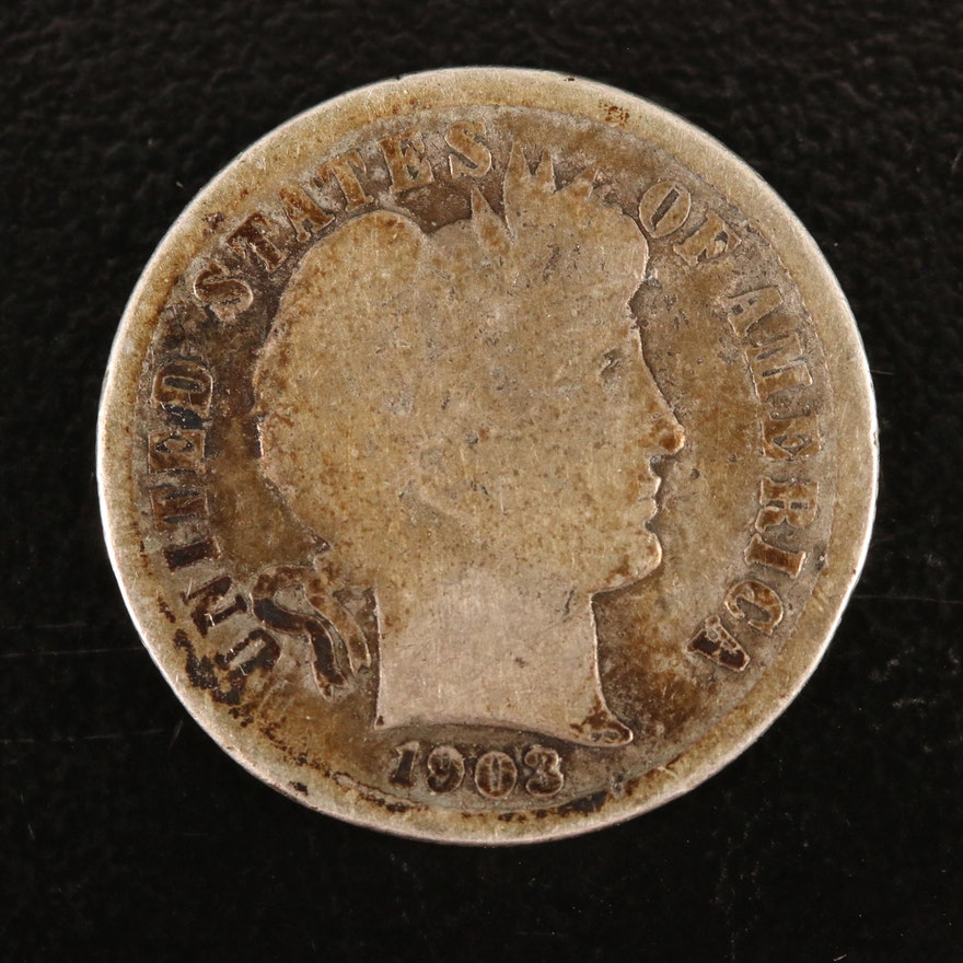 Key Date Low Mintage 1903-S Barber Silver Dime